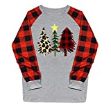 Floweworld Damen Langarm T Shirt Weihnachten Druck Plaid Colorblock Raglan Casual Tops Damenmode Rundhals Lose Blusen Party Kostüme