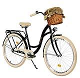 Milord. 28 Zoll 3-Gang, schwarz und Creme, Komfort Fahrrad mit Korb und Rückenträger,...