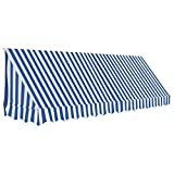 Tidyard Bistro-Markise Blau und Weiß 350 x 120 cm Bistro Awning Patio Awning Sun Protection Shade Fabric with PA Coating Weatherproof and UV