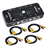 4 Port USB KVM Switch Box VGA + 4Stk Kabel für PC Monitor / Tastatur / Maus-Steuerung