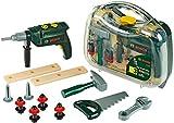 Theo Klein 8416 Bosch Werkzeugkoffer, groß I 16-teiliges Werkzeug-Set I Inkl. batteriebetriebenem...