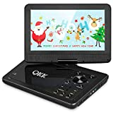 QKK 10.1 Zoll Tragbarer DVD Player, Auto DVD Player, 5 Stunden Akku, 270 Grad drehbares HD Display, unterstützt USB und SD Karte, HD DVD Player, Schwarz, MEHRWEG.