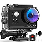 COOAU 4K Action Cam Webcam 20MP WiFi Sports Kamera Unterwasserkamera 40m mit Externs Mikrofon Fernbedienung Helmkamera Wasserdicht Digitale Videokamera mit EIS Stabilisierung Zeitraffer 2x1200mAh Akku