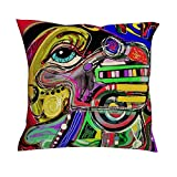 Kissenbezüge Zierkissenbezüge Leinen Kissenbezug Bunte Abstrakte Kunst Graffiti Design Pillowcase Kissenhülle Dekokissen Bezug mit Verstecktem Reißverschluss für Schlafzimmer Dekor White 45 x 45 cm