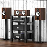 FITUEYES TV Rack HiFi Regal Audio Schrank Glas und Alu 600x455x770mm AS406002GB