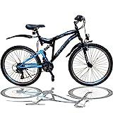 Talson 26 Zoll Mountainbike Fahrrad MIT VOLLFEDERUNG & Beleuchtung 21-Gang Shimano OXT...