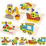 FORMIZON Holzpuzzle, Holzspielzeug ab 1 2 3 4 Jahren, Puzzlespiel Set, 5 Stück...