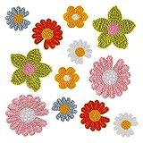 LIHAO 12 Stück Aufbügelbilder Blumen Patches DIY zum Nähen Aufbügeln Applikationen...