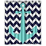 NA 36x72 inch Navy Blue Chevron mit Nautical Anchor Wasserdichter Duschvorhang