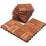 EINFEBEN Holzfliesen aus Akazien Holz 30x30cm, 12 Latten Fliese 5m², Bodenfliesen für...