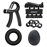 Karrong Handtrainer Fingertrainer Set, 5 in 1 Hand Trainingsgerät Unterarmtrainer Einstellbar Hand Grip Griffball & Ring, Finger Stretcher, Handmuskeltrainer für Klettern Fitness Therapie (5-60kg)