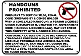 wendana Warnschilder Handguns Prohibited Pursuant to Section 30.06', Aluminium, Metall, lustig, privates Eigentum Schild, für Haus Hof, Tor, Hinweisschild, 20,3 x 30,5 cm