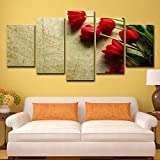 Hd Printed Moderne Leinwand - Malerei - Wand - Kunst - Plakat 5 - Panel Red Rose Scenery Pictures Home Decor Wohnzimmer Modular 5p2523 kein Rahmen XL: 14X21-2P   14X28-2P 14X35-1P   Zoll