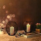 VOFANK Kerzenständer Schwarz 2er Set, Oval Kerzenhalter Vintage Metall Kerzenleuchter...