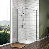 Meykoe Duschkabine 75x90cm Duschabtrennung Duschtür Schwingtür mit Seitenwand, Duschwand...