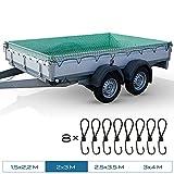 TRIBURG® Anhängernetz 2x3 mit Eckmarkierungen inkl. 8X Expander Haken - Anhängernetz...