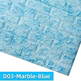 XYAN 10pcs Kaguyahime Tapeten-3D DIY Marmor Aufkleber wasserdichte Aufkleber-Wand-Papiere Home Decor Kinderzimmer Selbstklebende Tapete Brick (Color : D03 Marble Blue, Dimensions : LxH 70 x 7cm)