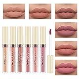 6 Farben Rose Matte Flüssiger Lippenstift Wasserdichte Langlebige Lippenstift Matte...