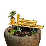 Bambusbrunnen Dekor, Vogeltränke Bambusbrunnen Gartendeko Wasserfall mit Pumpe Filter...