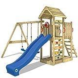 WICKEY Spielturm Klettergerüst MultiFlyer Holzdach mit Schaukel & blauer Rutsche,...