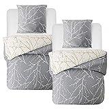 Bedsure Baumwolle Bettwäsche 135x200 cm 4 teilig Grau/Beige Bettbezug Set mit schickem...