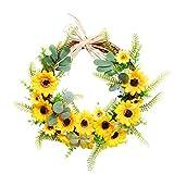 æ— Haustürkranz, 45cm Frühlingskranz mit Sonnenblumen Kunstkranz Blumengirlande für...