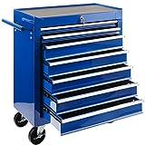 Arebos Werkstattwagen 7 Fächer | zentral abschließbar | inkl. Antirutschmatten |...