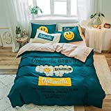 yaonuli Bed Sheet Bed Quilt Cover Four Sets of Cotton Twill Printed Cotton Four-Piece Set of Burning Dream Quilt Cover: 200 * 230 Bed : 150 * 200 Four-Piece Set