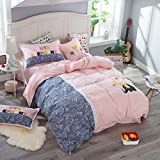 yaonuli Children's Cotton Four-Piece Cartoon Cotton Student Dormitory Sheets Quilt Cover Ancient Balloon Application Bed 1.5M-1.8M