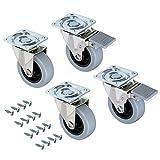 Emuca - Set aus 4 Lenkrollen für Möbel Ø50mm mit Anschraubplatte und Kugellager,...