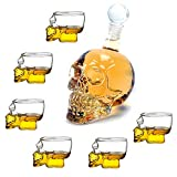 BKFG Totenkopf Karaffe mit Gläser Set, 350ml Glaskaraffe und 75ml Schädel Whiskyglas Transparent Dekanter Schnapsglas, Schnapsgläser Dekantierer Totenkopfdesign für Bar Party Halloween