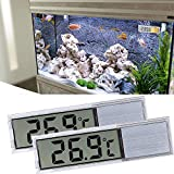 ALLOMN Aquarium, 2 Stck Thermometer, Digitales Aquarium Thermometer mit hoher Empfindlichkeit, Zwei Seitlich Klebende Aufkleber, Genauigkeit bis zu 0,1 Grad (Silber)