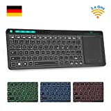 Rii K18 Plus Kabellose TV-Tastatur, Wireless Touchpad Tastatur, beleuchtet Tastatur mit 3 LED Hintergrundbeleuchtung für Smart TV/Laptop/Mac/PC/Android TV (Deutsch Layout,Schwarz)
