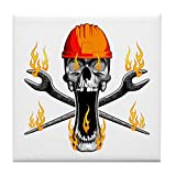CafePress Untersetzer, Motiv: Flaming Ironworker Skull