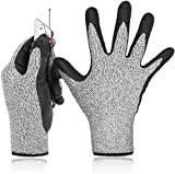 Froomer Level 5 Schnittfeste Handschuhe 3D Comfort Stretch Fit Durable Power Grip Foam Nitril Pass FDA Food Contact Smart Touch Dünn Maschinenwäsche Grau 1 Paar