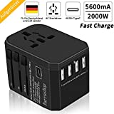 Reiseadapter Reisestecker Universal 224 Ländern Travel Adapter, 2000W Fast Charge Weltweit mit 4 USB Ports + Type C + AC Reise Steckdosenadapter Steckdose International für USA Europa UK Asia usw