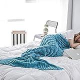 Meerjungfrau Decke Erwachsene, Handarbeit Strickmuster Blau Meerjungfrau Fischschwanz...