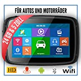 Elebest Rider A5 Navigationsgerät Motorrad - inkl. Halterung und Ladekabel, 5 Zoll Display Touchscreen Wasserdicht, 24 GB Speicher mit SD Karte, Radarwarner, Bluetooth, WiFi