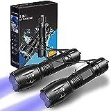 LETION UV-Taschenlampe 2 in 1 [2er-Pack], UV-Licht LED Schwarzlicht Taschenlampen mit...