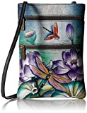 Anuschka Damen Women's Leather Hand Painted Double Zip Travel Crossbody Bag Umhängetasche, Handtasche, Ruhiger Teich, Einheitsgröße
