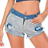Simperlive Sommer Weibliche Pailletten Shorts Hot Pants Ultra Short Nightclub Damen Sexy Mid Waist Loch Dance Party Banquet Frauen Shorts, blau, L