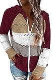 BTFBM Damen Kapuzenjacke mit Reißverschluss, gestreift, Farbblockdruck, lange Ärmel,...