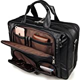 iswee echtes Leder Laptop Messenger-Tasche Business Aktentasche TRAVEL Duffel Gepäck Tasche, schwarz (schwarz) - IV001-BK