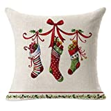 DQANIU Weihnachtsdekoration, Weihnachtskissenbezug Santa Cotton Linen Sofa Car Coffee Shop Dekokissenbezug Home Decor Festival Karneval Home Decor Ohne Kissen, 45cmx45cm