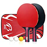 Calmare Tischtennis-Set, Packung mit 2 Premium-Paddeln, Training/Freizeit-Schläger-Kit, Accessoires Bundle Portable Cover Case Bag