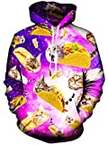 Rave on Friday 3D Katze Hoodie Pizza Drucken Galaxy Cat Kapuzenpullover für Damen Mode Lustige Pullover Langarm Sweatshirt S-M