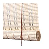 ZEMIN 60% Lichtfilterung Bambus Rollo, Halbschatten Römischer Fenstervorhang, Anti- UV...