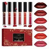 Lipgloss Set, Luckyfine 6 Farben Lipgloss Matte Lippenstift, Liquid Lipstick wasserdichte...