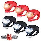 shenzhenroy 6 Stück Fahrradbeleuchtung vorne und hinten, LED Clip on Silikon...