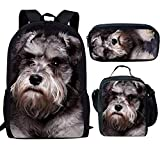 Showudesigns Animal Rucksack mit Lunchbox 3er Set Kinder Kinder Tasche Büchertasche und Lunchbox Stifteetui Schnauzer Grau Einheitsgröße